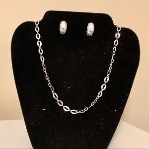 Jewelry - Sterling diamond cut necklace and earring set